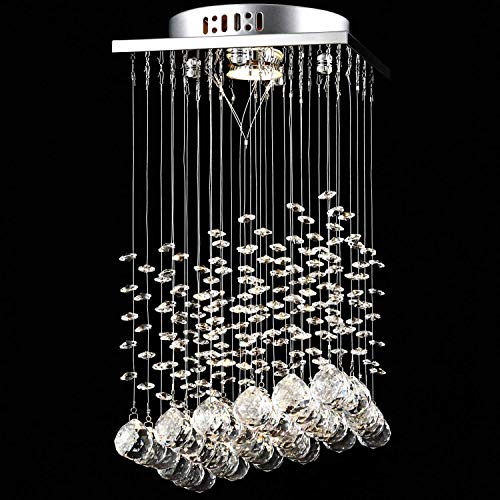 Durable Exquisite Crystal Chandeliers Modern K9 Square Crystal Chandelier Embedded GU10 Light Raindrop Ceiling Light Suspension Light Transparent Glass Pendant Lamp For Living Room Lounge [A-level Ene