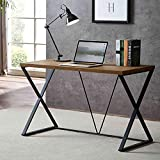DYH Computer Desk, Rustic Wood and Metal X Writing Desk, Wood Table for Home Office, 47 inch