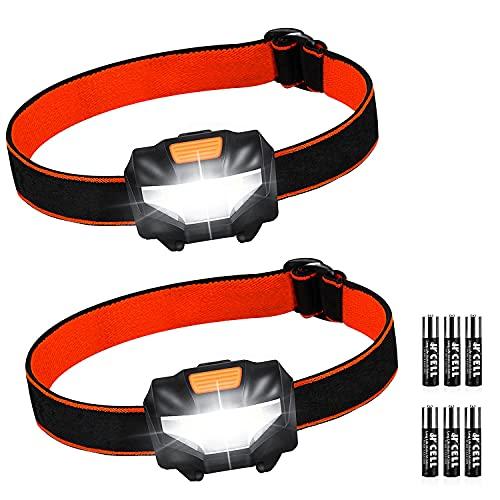 Linterna Frontal LED, 2 Pack Super Brillante Linterna Cabeza (6 Pilas AAA Incluidas), 3 Modos de Luz, Impermeable Mini Frontal LED para Correr, Camping, Acampar, Pesca, Carrera, Niños