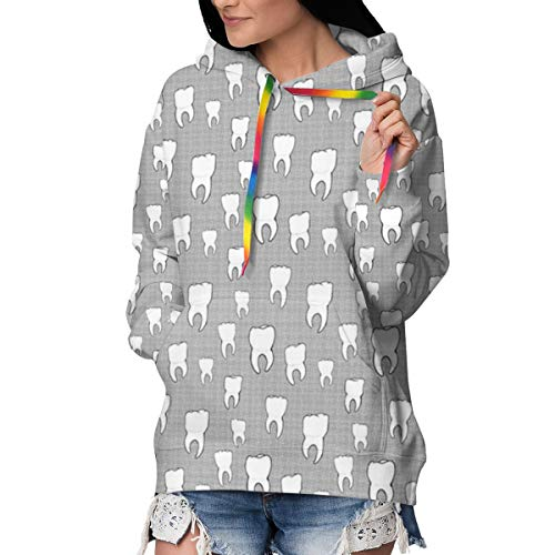 Teeth Crosshatch Sweatshirt für Damen mit Kapuze, dick M