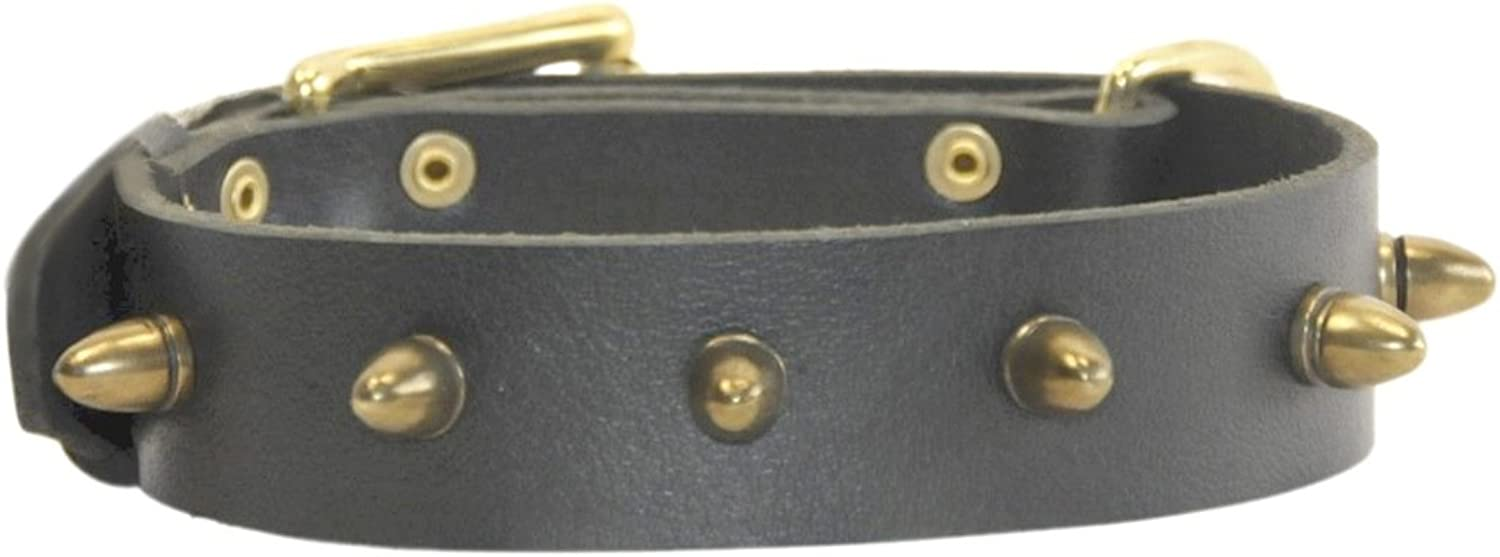 Dean & Tyler The Bullet Leather Collar for Dogs, 18 to 22Inch by 11 2Inch, Black