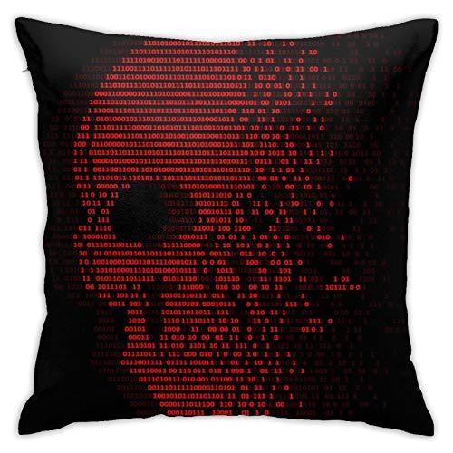 Throw Pillow Cover Case Red Skull Digital Logic Cero y un número para Seguridad de Virus Diseño de vectores Abstractos Funda de Almohada Decorativa 45cmx45cm Funda de cojín para sofá de Cama