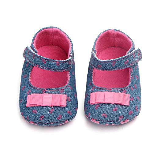 Unisex-Baby-mädchen-Baumwollschuhe Antiskid Sole-Blumen-drucken Magie Aufkleber Indoor Prewalker Schuhe Sneaker Rose Red 13cm