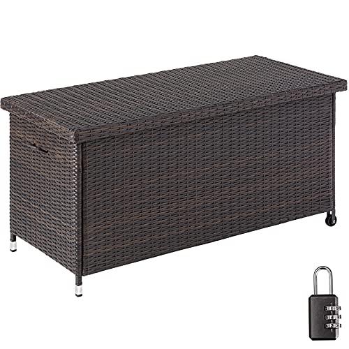 tectake 404211 Polyrattan Auflagenbox, mit herausnehmbarer Innentasche und Zahlenschloss, Kissenbox mit zwei Griffen und Gasdruckfedern, 270L, rollbar, braun