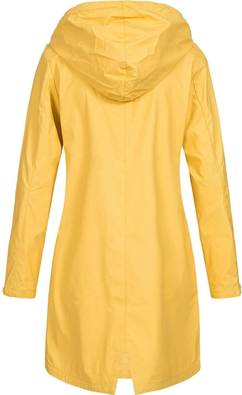 Rain Coats for Women Waterproof Lightweight Hooded Jackets Solid Zip Up Casual Long Windbreaker Tops Plus Size Sweatshirts (5X-Large, A1~Yellow)