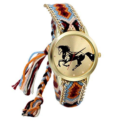 JewelryWe Boho Reloj De Pulsera Étnica De Mujeres, Marrón Rojo Cuerda De Tela Tejida, Reloj Trenzado De Hilos Ajustable, Patrón de Caballo, Regalo para el Dia de la Madre, Regalo para Chica