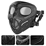 WoSporT Airsoft Mask,Tactical Paintball Mask Full Face with Goggles Impact Resistant for Airsoft BB Hunting CS Game Paintball Halloween Cosplay Safety Mask (Black)