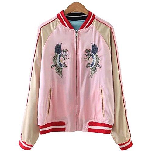 Viport Women's Reversible Crane Tiger Fujiyama Embroidery Bomber Jacket Japanese Style Pink Blue (Small)