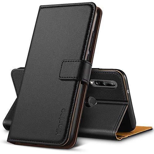 Hianjoo Hülle Kompatibel für Huawei P40 Lite E, Tasche Leder Flip Hülle Brieftasche Etui mit Kartenfach & Ständer Kompatibel für Huawei P40 Lite E, Schwarz