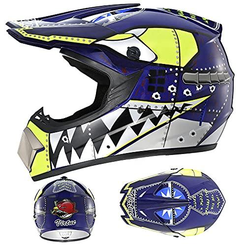 LIALIYA Juego de casco de motocross, para adultos, para quad, bicicletas, BMX, ATV, todoterreno, casco de motomotocross, juego de casco de moto para adultos, 3, XL