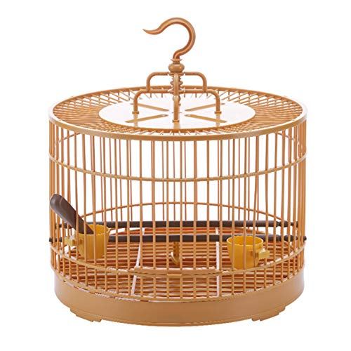 yahede Bird Cage, DIY Breathable Parrot Cage Bird Carrier Retro Round Travel Cage for Small Birds agreeable