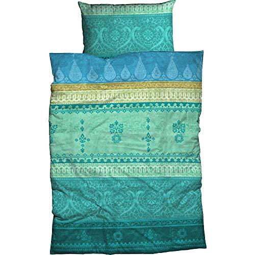 Casatex Bettwäsche Indi Satin türkis-smaragd Größe 135x200 cm (80x80 cm)