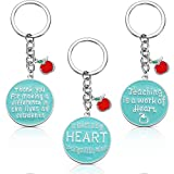 3 Packs Women Teacher Appreciation Keychain Gifts Thank You Enameled Charm Keychains for Teacher' Day Thanksgiving Day (Thanks to Teacher)