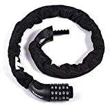Bike Lock,5-Digit Resettable Combination,3.2 FT Bicycle Chain Lock,Bicycle Steel Lock,Bike Chain Guard,Password Lock for Bike,Motorcycle,Gate,Fence The Combination Lock with a High Security Level