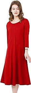Women's Casual Midi Dress A Line Shirt 3/4 Sleeve Swing Dress Cotton Elegant Dress