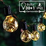 Quntis Erweiterbar 9,8M LED Lichterkette Außen, 30er IP65 G40 Glühbirnen E12 Warmweiß+1...