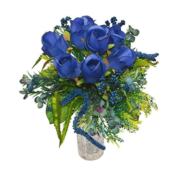 v-max 15 inches Rose Bouquet (Pack of 2) – Silk Flower Bouquet for Bride Bridesmaid Handmade Wedding Bouquet, Wedding Centerpieces, Wedding Decoration. Blue