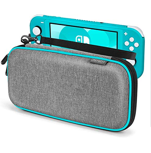 Carrying Case for Nintendo Switch Lite, Anti-Deformation Hard Premium Waterproof Material Carry Case for Switch Lite, with 8 Games Cartridges Storage and Portable Carrying Lanyard-Gray (Turquoise)