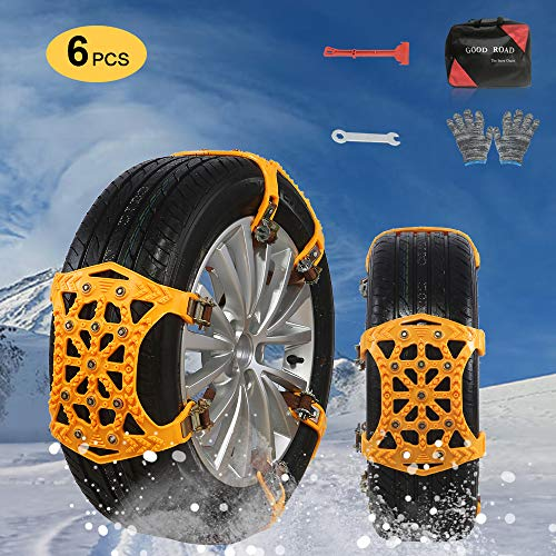 UPEOR Anti-Skid Snow Chains Tire Traction Chain Adjustable Anti Slip Emergency Car Snow Tyre Chains Universal for for Car/SUV/Trucks-Tyres Width 165-275mm(Orange)-Set of 6
