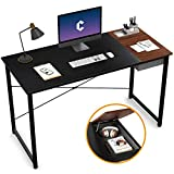 Cubiker Computer Desk 55' Home Office Writing Study Laptop Table, Modern Simple Style Desk with Drawer, Black Espresso