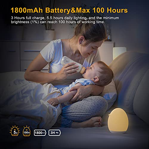 LED Baby Night Light for Kids, PREKIAR 1800mAh Portable USB Rechargeable Bedside Table Lamp, Touch 7 Color RGB Gradient 256C, 1Hr Timer, Memory Function, Lights for Bedroom Children's Baby Gifts