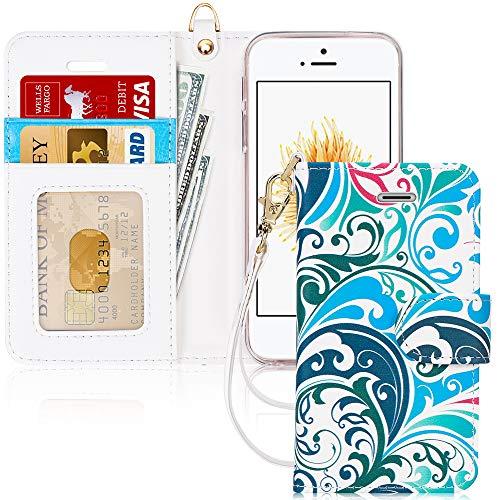 FYY Schutzhülle iPhone 5SE Schutzhülle, [Serien High-End] Ledertasche von Erste Qualität mit Coverture Allmächtige für iPhone 5SE E-Motif 16 SE/5S/5