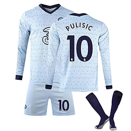 HKIASQ Fußballtrikot, 2021 Chelsea Langarm Jersey, 10 Pulisic Football T-Shirt 18 Giroud Soccer Uniform, 3-Teilige Anzug Sportbekleidung for Kinder Männer,B,XXL/XX~Large
