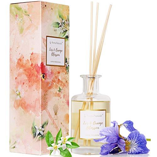 Aroma Naturals Duftstäbchenset mit 8 Stäbchen   200ml   Bis zu 6 Monate Duft mit Einer dekorativen Box (Iris und Orangenblüte)