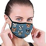 Boston Terrier Blue Faces Mask Bocca Maschera Maschera Beauty Maschera lavabile lavabile e riutilizzabile con fascia elastica per uomo e donna per tutte le età