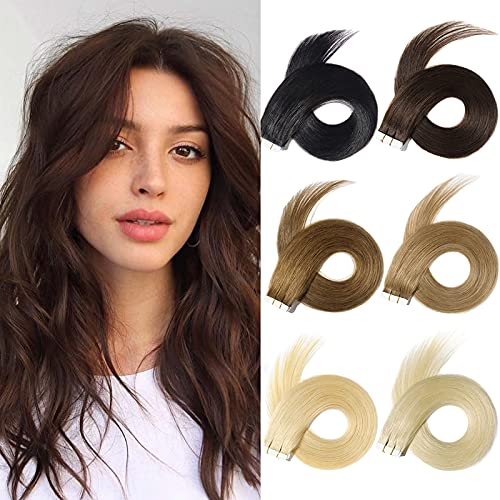 Yamel Tape In Hair Extensions Human Hair Dark Brown Hair Extensions 12 Inch 20pcs Tape In Human Hair Extensions