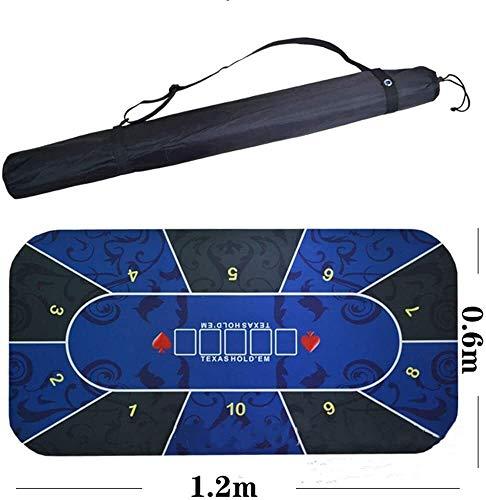 Poker Table Mat Texas Hold'em Poker Mat Poker Rubberen mat Tafelkleden Placemats met schoudertas 120x60cm Poker apparatuur dmqpp 120x60cm blauw