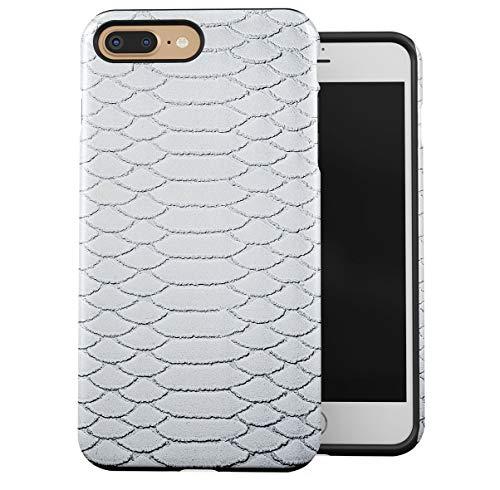Cover Compatible with iPhone 7 Plus/iPhone 8 Plus 2 Pezzi Doppio Strato PC + TPU Custodia Protettiva Robusta Case Snow White Snake Skin Pattern