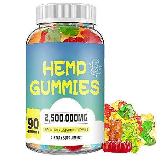 Hemp Gummies Premium Extract 2,500,000mg Natural Hemp Candy Supplements Hemp Gummies for Pain and Anxiety Promotes Sleep and Calm Mood 90 Chews