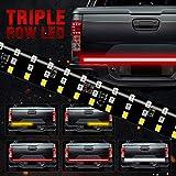 MIHAZ LED Tailgate Light Bar - 60' Triple Row 5-Function Strip Light, No Drill Install 1yr-Warranty