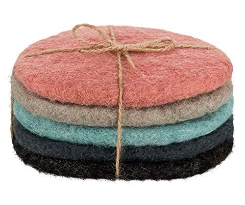 Maharanis Fairtrade Filz Untersetzer 5er Set pastell 11 x 9 cm handgefertigt aus reiner Wolle