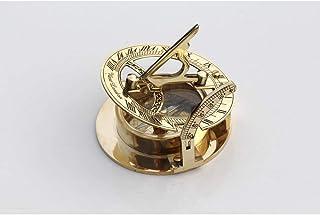 Brújula náutica de latón con reloj solar, coleccionable, de regalo, decoración náutica