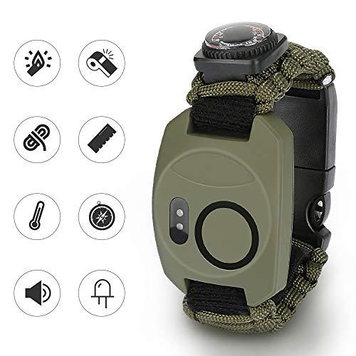 Achort Paracord Survival Armband Kit für Herren Damen, 8 in 1 Survival Armband mit Feuerstein + Kompass + Thermometer + Alarm + Messer+ Pfeife + Schirmseil + LED-Leuchte zum Outdoor-Aktivitäten
