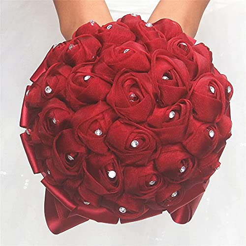 HXSCOO Artesanía Color sólido Popular Tolle Malla Rose Rose Bridal Holding Ramo de Boda Arreglos de Flores de Boda Dama de Honor Ramo de Boda Bouquet (Color : Negro, Size : 9.4x10.6/24x27cm)