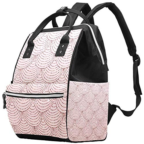 Backpacks DiaperBag Laptop Rucksack Lightweight Hiking Camping Travel Daypack for Women Rose Gold Glitter Mermaid Scales Pattern