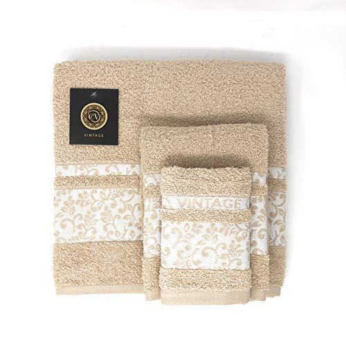 Cabello Textil Hogar - Juego de Toallas 100% Algodón de 450 Gr/m2 - Vintage - 3 Piezas: Sábana de baño (100x150 cm) - Tocador (50x100 cm) - Bidet (30x50 cm) (Beige)