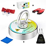 All-in-One Magnet Fishing Kit - Fishing Magnets with Rope - Fishing Magnet Kit .330 lbs Strong Magnet, 65 ft Durable Nylon Rope, 2 Steel Carabiners, Anti-Slip Gloves, Cleaning Cloth, Waterproof Bag