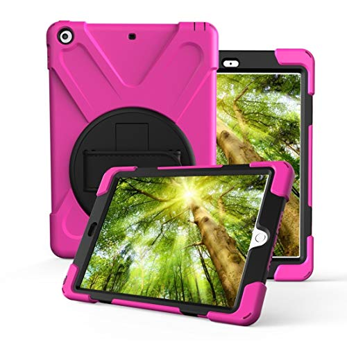 DESHENG Smartphone Protective Clips for iPad 10.2 (2019) 360 Degree Rotation PC + Silicone Protective Case with Holder & Hand-Strap Phone Bag (Color : Rose Red)