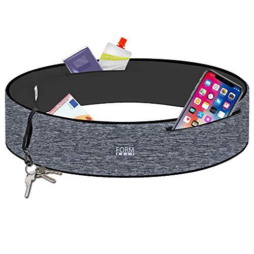 Formbelt® Plus Sport-Bauchtasche mit Reißverschluss, Laufgürtel für Handy Smartphone, elastische Lauftasche iPhone 8 8 Plus X 7 Plus + Samsung Galaxy S-7 S8 Plus Reise-Hüfttasche (grau, M)