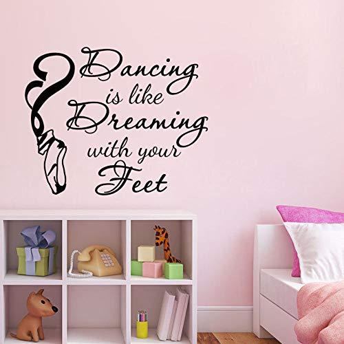 Ballettschuhe Aufkleber tanzen Wand wie Traumhaus Dekoration Abziehbilder Mädchen Schlafzimmer abnehmbare Wandtattoos42x53cm