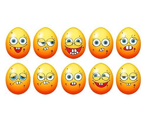 10x Oster Eier Set lustige Gesichter smile smiles Aufkleber Ostern Wandtattoo Deko Wand Fenster bunt Osterei sticker Party 11Y013