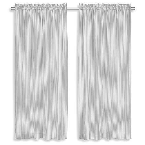 Cackleberry Home Alloy Gray and White Ticking Stripe Panel Curtains Woven Cotton 54 Inches W x 45 Inches L, Set of 2