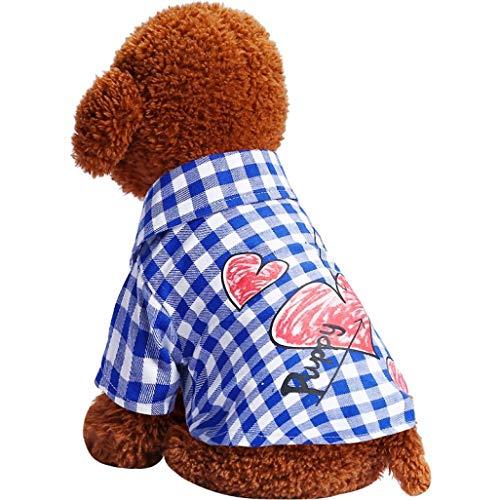 Hundebekleidung Teddy Spring Autumn Two Kariertes Futter Welpenhemd Atmungsaktive Kleidung für kleine Hunde