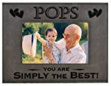GK Grand Personal-Touch Premium Creations POPS Gift ~ POPS You are Simply The Best! Engraved Leatherette Picture Frame Grandfather Dad Birthday POPS Daughter Son Grandchild Best POPS Ever (5x7, Gray)