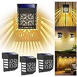 Plunack Luz Solar Exterior, 4 Piezas de Apliques Exteriores Solares, Luces Solares Led Exterior Jardin Completamente Automatico, Para Decoración e Iluminación de Portones, Patios Traseros