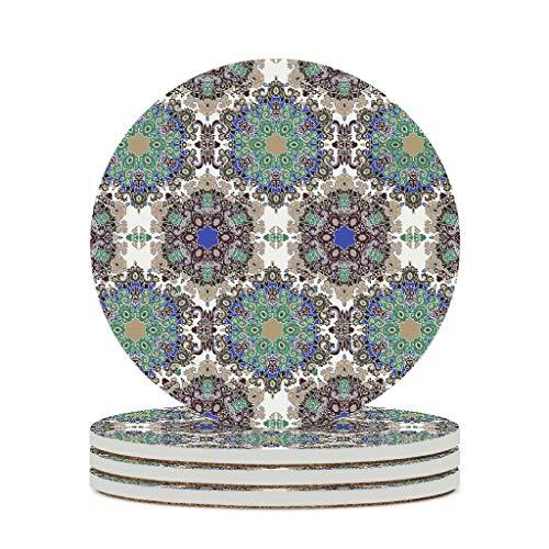 Wraill Posavasos redondos, estilo indio, hippie, gitano, de cerámica, bohemio, juego de 4 o 6 posavasos con dorso de corcho para tazas y tazas, color blanco, 6 unidades